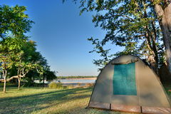 Tent camp. South Luangwa National Park. Zambia. South Luangwa National Park in eastern Zambia, the southernmost of three national parks in the valley of the Royalty Free Stock Image