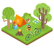 Tent Camp Travel Isometric 3d Icon Forest wood Symbol Background Flat Design Vector Illustration. Tent Camp Travel Isometric Icon 3d Forest wood Symbol Royalty Free Stock Photos