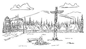 Tent camp. Vector - Tent camp in the wild vector illustration