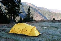Tent camp (yellow) stock photo