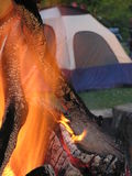 Tent and campfire. Campfire with tent in background Stock Photos