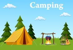 Tent, campfire, forest and water. stock illustration