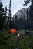 Tent and campfire wild camping in a forest with mountains Stock Photography