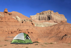 Tent at the campground of Goblin Valley, Utah Royalty Free Stock Photos