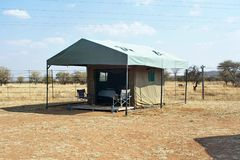 Tent in a campground in Pilanesberg National Park. Permanent tent in a campground in Pilanesberg National Park, near Sun City, South Africa stock photo