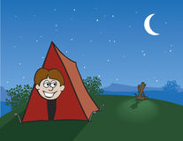 Tent Camping. Illustration of a boy peeking out of his tent while a coyote howls at the Stock Image