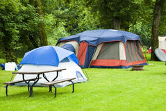 Tent camping. In a campground in Minnesota Stock Photography