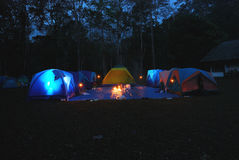 Tent camping. Evening lit tent in camping by nature royalty free stock photos