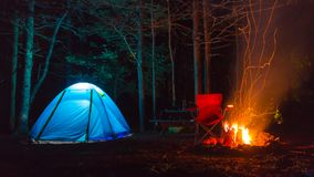 Tent camping. In acadia national park with bonfire Stock Photo