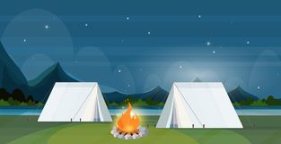 Tent camping area with campfire night campsite summer camp travel vacation concept mountains landscape beautiful nature. Background flat horizontal vector stock illustration