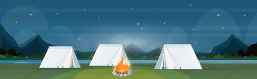Tent camping area with campfire night campsite summer camp travel vacation concept mountains landscape beautiful nature. Background flat horizontal vector royalty free illustration