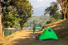 Tent camping area at pompee Khao Leaem National Park, Kanchanaburi. Thailand stock photography