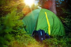 Tent Camping and Backpack Stock Images