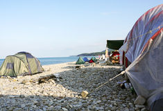 Tent camping on the beach Stock Photography