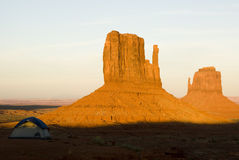 Tent camping at dusk. Tent camping in Monument Valley Royalty Free Stock Images