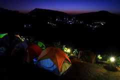 Tent camping on the hill Royalty Free Stock Image