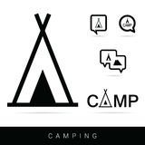 Tent camping icon set in black illustration Stock Images