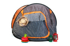 Tent on camping. Isolated tent on camping with light equipment Royalty Free Stock Image
