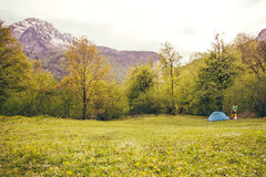 Tent Camping with man traveler outdoor Stock Photography