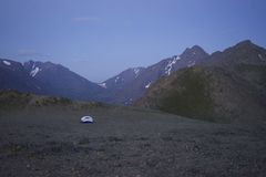 Tent Camping in Mountains. Stock Image