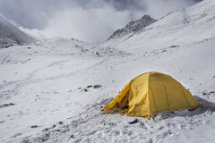 Tent camping in the mountains Stock Images