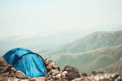 Tent camping in Mountains Landscape Travel Lifestyle Stock Photography