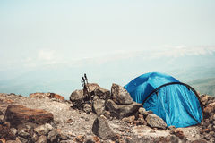 Tent camping in Mountains Landscape Travel Lifestyle Royalty Free Stock Photo