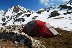 Tent camping in mountains romania Stock Photos