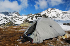 Tent camping in mountains romania Stock Photo