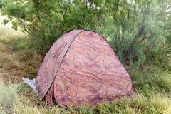 Tent Camping on nature. In the park in nature Royalty Free Stock Photo