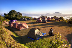 Tent camping. In nature with wide angle landscape Stock Photo