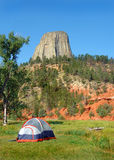 Tent Camping Near Devil's Tower Stock Image