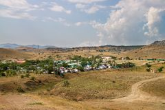 Tent camping near Sudak in Crimea Stock Images