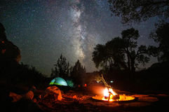 Tent camping at night beneath stars and Milky Way Royalty Free Stock Photos