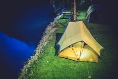 Tent Camping at Night Stock Photo