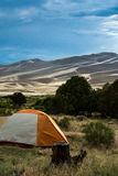Tent camping at the sand dunes Stock Photo