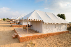 Tent camping site hotel in a desert Stock Photo