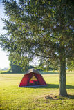 Tent on camping site stock image