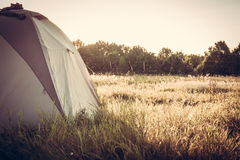 Tent on camping site at sunset stock photos