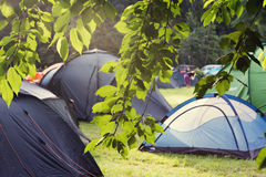 Tent camping site Royalty Free Stock Photos