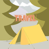 Tent Camping Traveling concept in  flat Royalty Free Stock Image