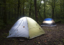 Tent campsite at dark Royalty Free Stock Images