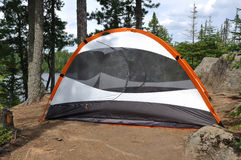 Tent at Campsite in the Wilderness. By a Remote Lake Lake in Northern Minnesota royalty free stock photo