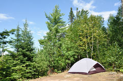 Tent at Campsite in the Wilderness. On a Sunny Summer Day Stock Image