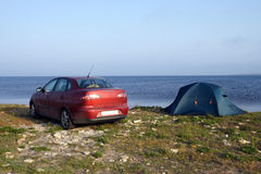 Tent and car Royalty Free Stock Image