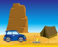 Tent with car in desert Stock Images