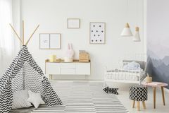 Tent in child`s bedroom interior royalty free stock image