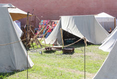 The tent city of the ancient Vikings. Stock Image