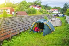 Tent at city camping at spring in Norway Royalty Free Stock Image