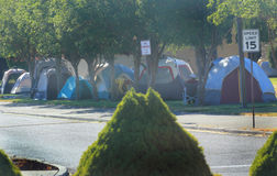 Tent City for Firefighters, volunteers, and servic Stock Photos